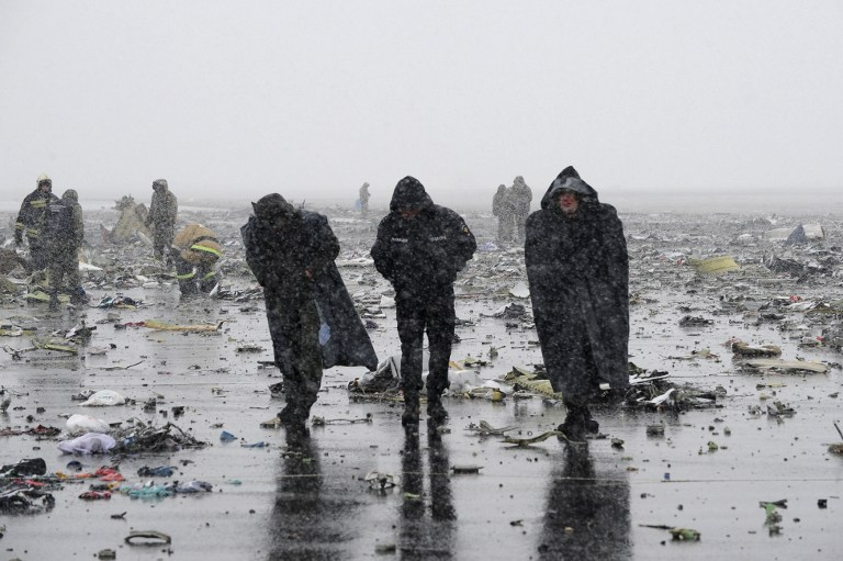 2809743 03/19/2016 The site of the Boeing-737-800 passenger jet crash at Rostov-on-Don airpot. Stringer/Sputnik