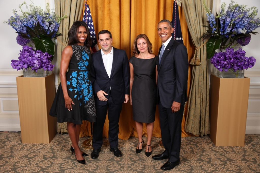 President Barack Obama and First Lady Michelle Obama greet His Excellency Alexis Tsipras,The Prime Minisiter of the Hellenic Republic, and Ms. Betty Baziana during the United Nations General Assembly reception at the New York Palace Hotel in New York, N.Y., Sept. 28, 2015 White House Handout - Lawrence Jackson